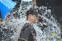 Jordan Luplow takes a Powerade bath after hitting his first major league homer against the Reds in the 8th inning Saturday, Sept. 2.