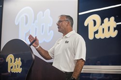 "Pitt football coach Pat Narduzzi discusses opponents using the ""wheel route"" to beat his defense Monday at his weekly news conference."