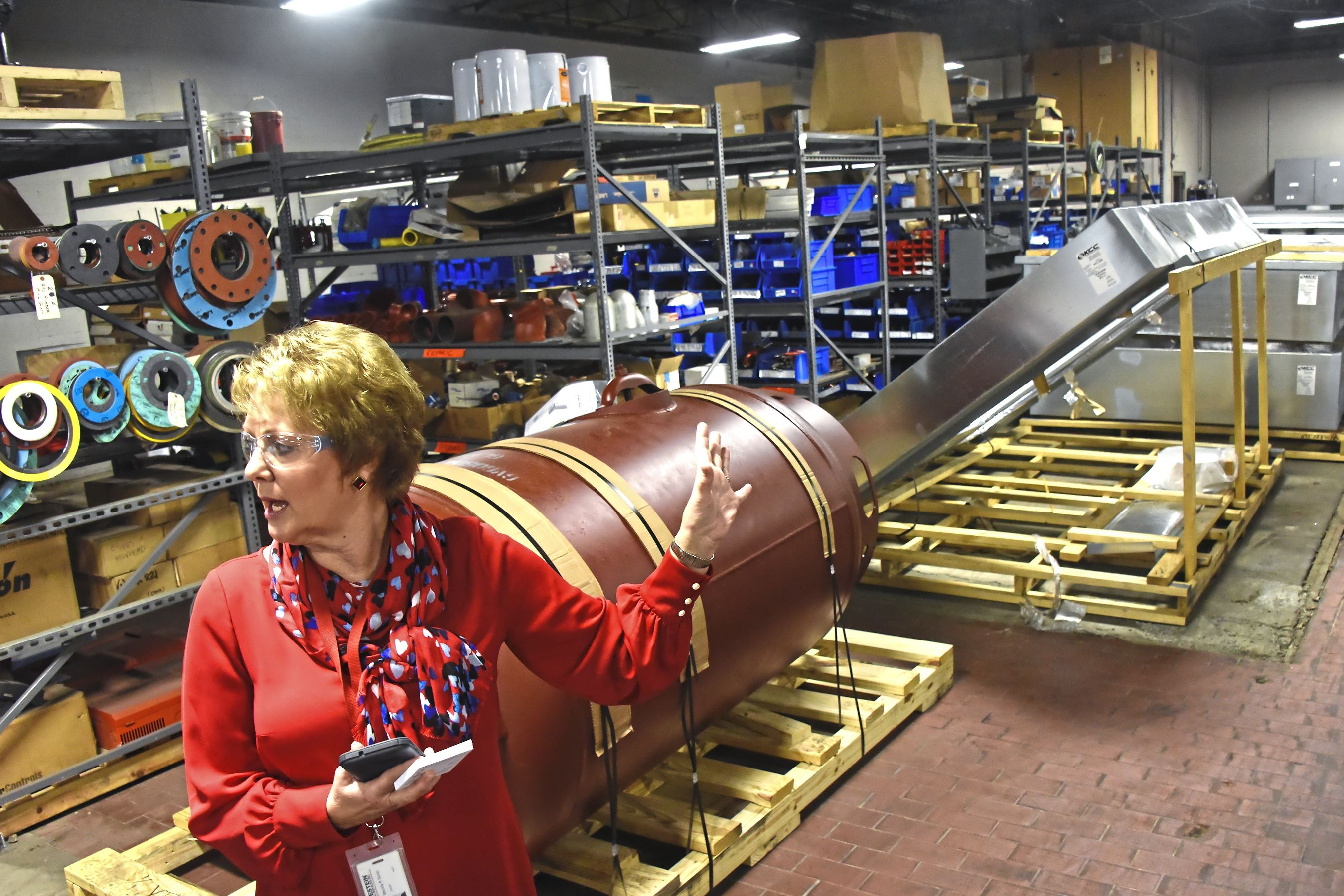 20170906dsCleanJobsBiz01 Wendy Staso , Owner, President and CEO of Huckestein Mechanical Services. Inc., gives a tour of their operations at their Metropolitan Street facility Wednesday.
