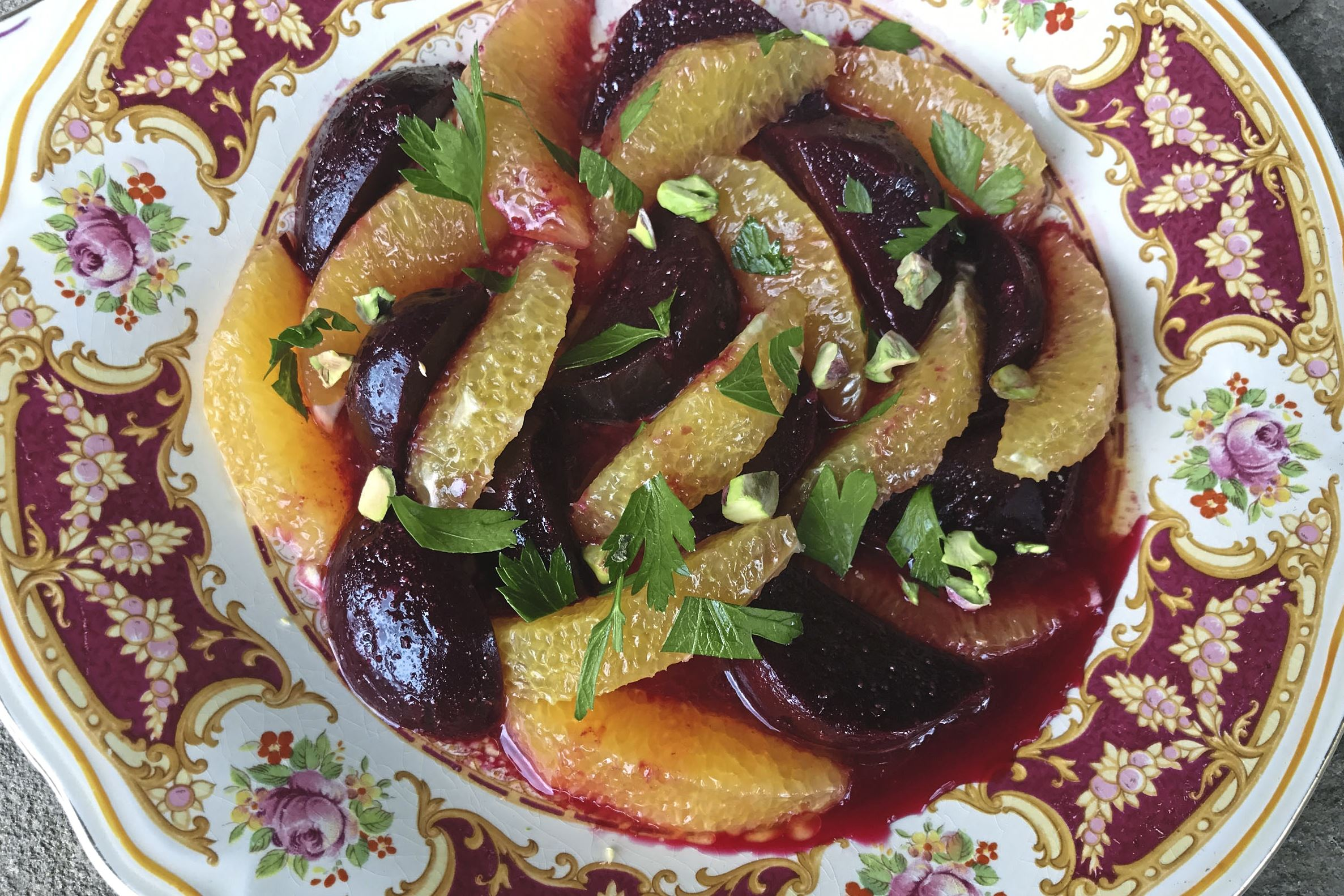 roshhasna093 beet orange 1-3 In the Moroccan Beet and Orange Salad, earthy sweet beets are combined with juicy oranges, and their flavors are accented with cumin and garlic.