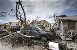 Storm damage in the aftermath of Hurricane Irma in St. Maarten. Irma cut a path of devastation across the northern Caribbean, leaving thousands homeless after destroying buildings and uprooting trees. Significant damage was reported on the island that is split between French and Dutch control.