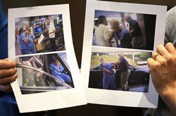 Nurse Alex Wubbels, right, displays video frame grabs of herself being taken into custody, during an interview Sept. 1 in Salt Lake City.