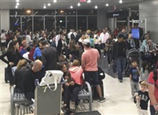 The scene from Miami Airport, Thursday night as police investigated an officer-involved shooting that shut down a terminal as people looked to leave Florida ahead of Hurricane Irma.