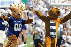 Pitt's mascot, Roc, on the left, and Penn State's Nittany Lion mascot.