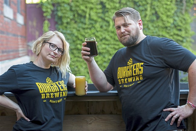 Jill Glausier with her husband, Neil Glausier, of Burgh'ers Brewing previewed several of Burgh'ers Brewing's beers, including the Hipster Tone New England-style India pale ale and the Oat Black Water oatmeal stout, during the Brewtal Beer Festival in Millville on Saturday.