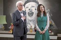 "In hell, clown decor is a design choice, according to NBC's ""The Good Place,"" with Ted Danson as Michael and D'Arcy Carden as Janet."