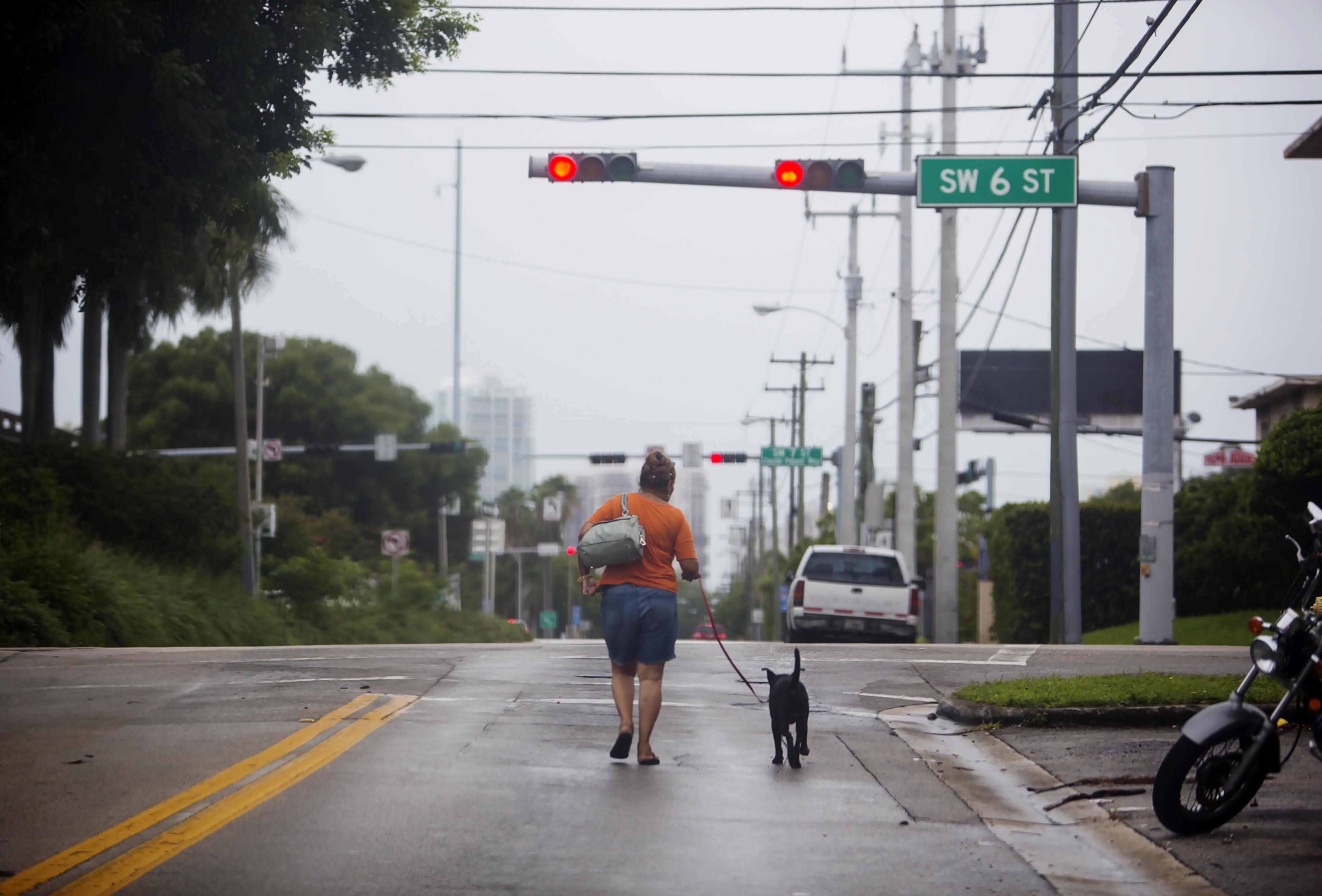 STORM IRMA 22 A woman walks her dog in Miami ahead of Hurricane Irma.