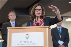 Allegheny County Airport Authority CEO Christina Cassotis speaks during the Pittsburgh International Airport's growth announcement on Tuesday in Moon. Cassotis announced $1.1 billion was approved for reconfiguration.