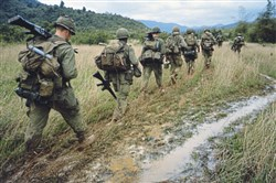 """The Vietnam War"": Soldiers on a search and destroy operation near Qui Nhon. Jan. 17, 1967."
