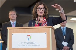 Allegheny County Airport Authority CEO Christina Cassotis speaks during the Pittsburgh International Airport's growth announcement Sept 12, 2017 in Moon.