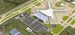 "This is an artist's rendering of what Pittsburgh International Airport would look like after completion of the new landside terminal. It will be tucked between two arms of the ""X"" -- the C and D concourses. A 3,000-space parking garage will be built adjacent to the landside terminal (white with blue stripes in drawing)."