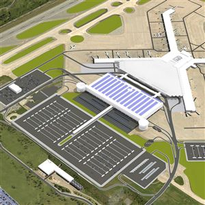 "This is an artist's rendering of what Pittsburgh International Airport would like like after completion of the new landside terminal. The airside terminal (the building shaped like an ""X"") would remain unchanged, but the new landside building (the white structure with the blue stripes on its roof) would sit directly adjacent to the airside terminal."