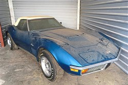 Hidden away in a storage unit somewhere in Pittsburgh is a 1972 Corvette convertible: Bryar Blue, white top, 454, four-speed, wearing its original Firestone Wide Oval tires.