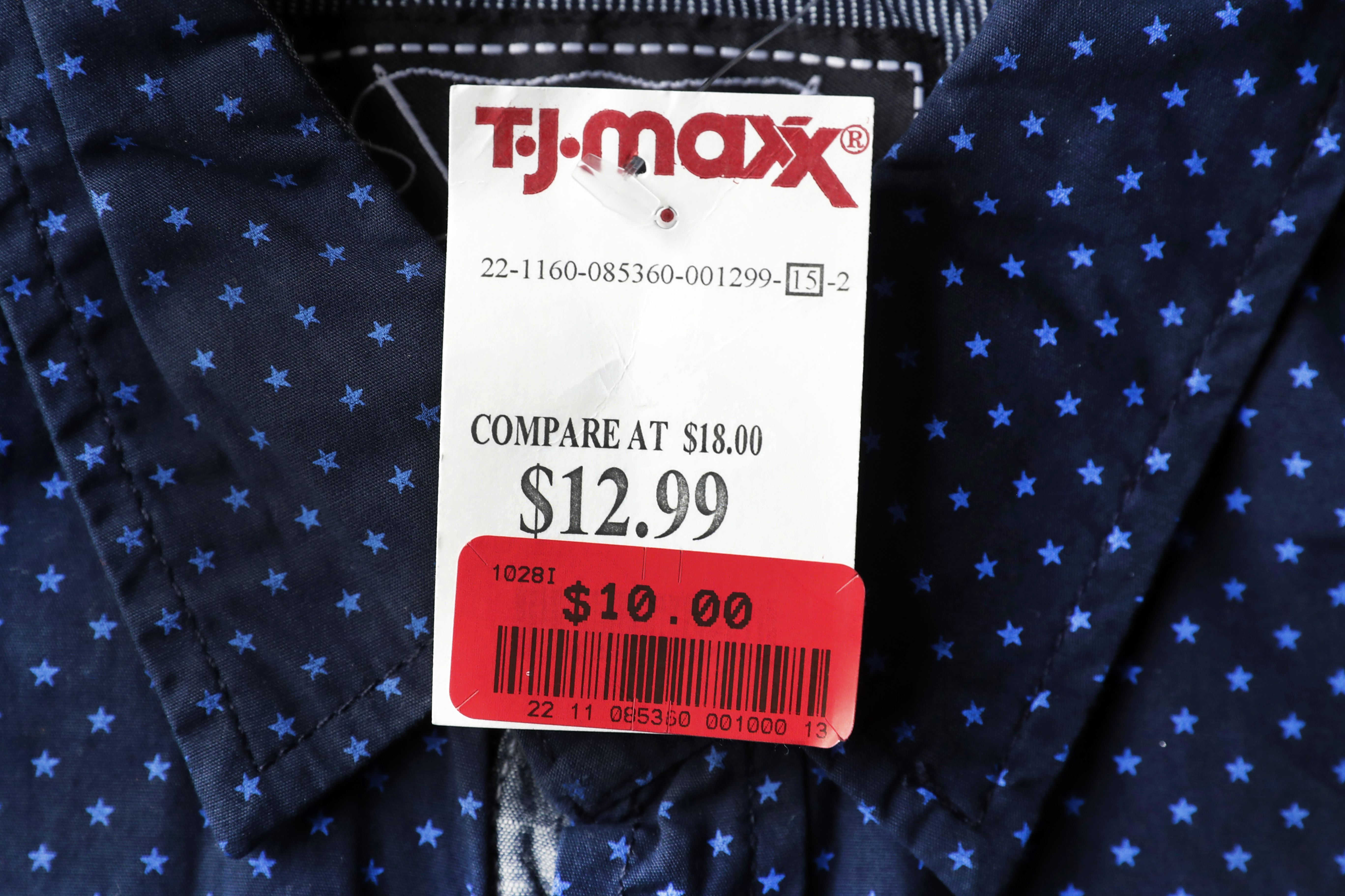 Consumer Prices This Tuesday, May 16, 2017, photo shows a T.J. Maxx store price tag on a shirt, in Des Moines, Iowa. The cost of clothing, auto insurance and health care rose in August 2017, according to consumer price information released Thursday, Sept. 14, 2017, by the Labor Department. (AP Photo/Charlie Neibergall)