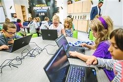 Students play Minecraft at the Montour Minecraft Education Lab at the new Montour Elementary School.