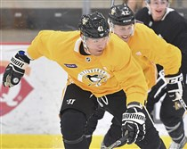 Daniel Sprong goes through drills at the UPMC Lemieux Sports Complex in Cranberry.