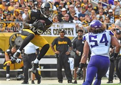 The Steelers' Martavis Bryant pulls in a pass in front of Vikings Eric Kendricks in the third quarter Sunday at Heinz Field in Pittsburgh.