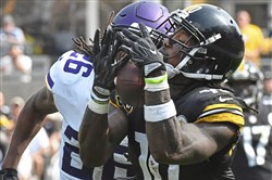 Martavis Bryant makes a catch for a first down Sunday against the Minnesota Vikings at Heinz Field.