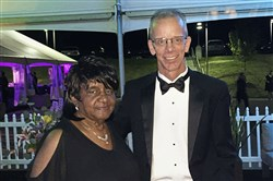 Eula Houston, who retired after 60 years with Animal Friends with shelter president and CEO David Swisher at Animal Friends' Black Tie & Tails gala on Saturday.