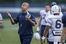 Penn State coach James Franklin at practice on Sept. 13, 2017, in State College. (Joe Hermitt/PennLive.com via AP)