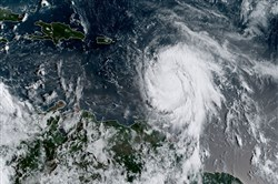 This satellite image obtained from the National Oceanic and Atmospheric Administration shows Hurricane Maria at 1215 UTC on Sept. 18.
