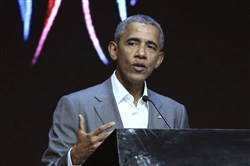 In this July 1 file photo, former President Barack Obama delivers his speech during the 4th Congress of Indonesian Diaspora Network in Jakarta, Indonesia.