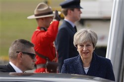United Kingdom Prime Minister Theresa May arrives in Ottawa for bilateral trade talks Sept. 18.