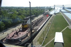 In this 2005 file photo, an ore ship passes through the Soo Locks in Sault Ste. Marie, Mich.