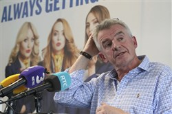 Ryanair boss Michael O'Leary reacts during a media conference in Dublin, Ireland, to give reasons for disruptions to flight schedules Sept. 18.