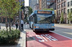 New dedicated bus lanes, painted in red, run along Liberty Avenue from Seventh Avenue to 10th Street / William Penn Place Downtown.