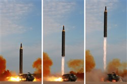 This undated combination picture released by North Korea's official Korean Central News Agency on Sept. 16 shows a launching drill of the medium- and long-range strategic ballistic rocket Hwasong-12 at an undisclosed location.