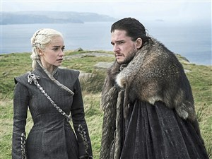 "Emilia Clarke as Daenerys Targaryen and Kit Harington as Jon Snow in HBO's ""Game of Thrones."""
