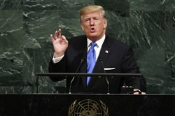 President Donald Trump addresses the 72nd session of the United Nations General Assembly, at U.N. headquarters, Tuesday.
