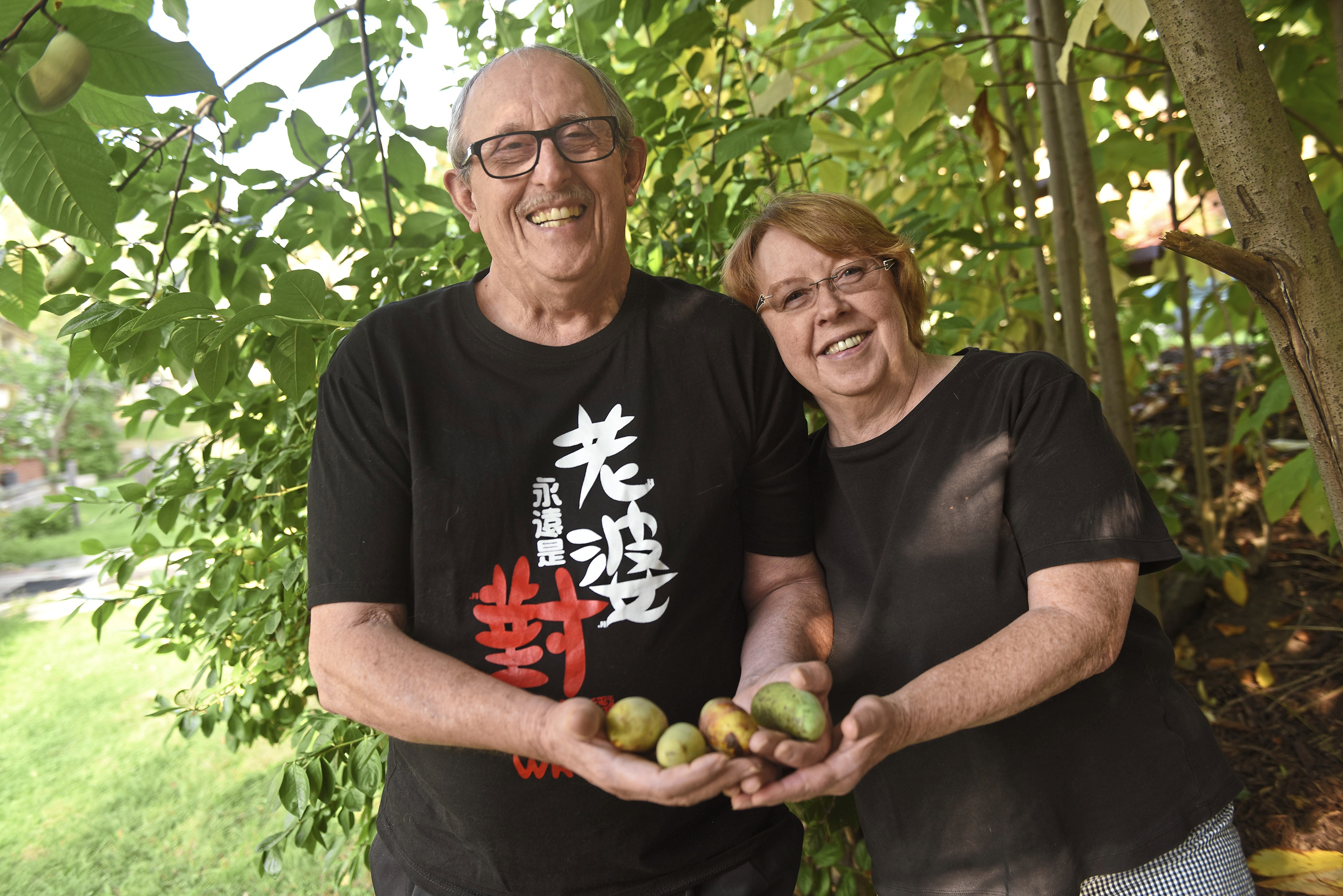 20170920smPawpaw003-2 Edward and Alma Fincke hold pawpaws from trees by their Emsworth home. The couple planted pawpaw trees in 1988.