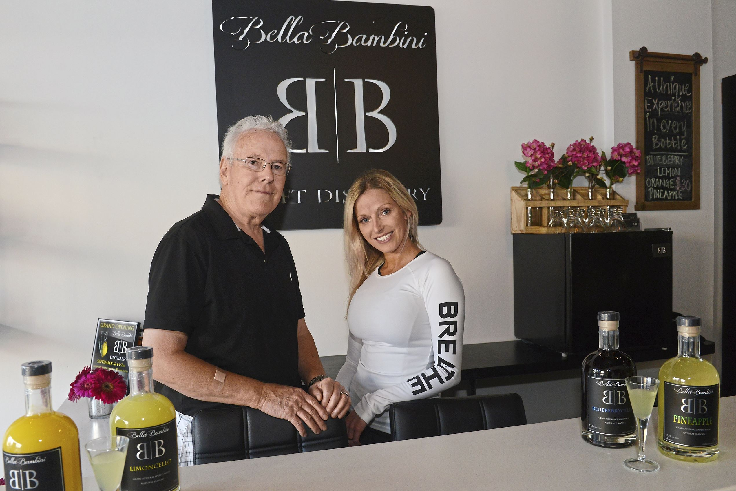 20170921rldBellaBambini06-5 Jim Breen and his granddaugther Brittany Breen at Bella Bambini Craft Distillery in Coraopolis.