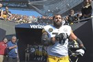 Pittsburgh Steelers Alejandro Villanueva stands near the tunnel during the National Anthem Sunday, September 24, 2017, at Soldier Field Chicago.