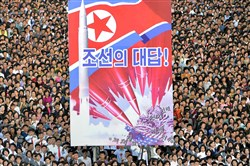 An anti-US rally in Kim Il-Sung Square in Pyongyang, North Korea, last month.