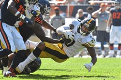 Pittsburgh Steelers Ryan Shazier recovers a fumble against the Bears in the second half Sunday, September 24, 2017, at Soldier Field Chicago.  (Peter Diana/Post-Gazette)