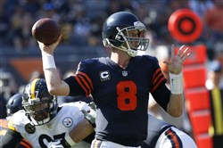 Bears quarterback  Mike Glennon looks to pass in the fourth quarter against the  Steelers Sunday at Soldier Field in Chicago.  (Photo by Joe Robbins/Getty Images)