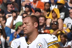 It was that kind of day on the road for quarterback Ben Roethlisberger as he reacts the Steelers losing to the Chicago Bears Sunday at Soldier Field in Chicago.