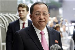 North Korea's Foreign Minister Ri Yong Ho speaks outside the U.N. Plaza Hotel in New York on Monday.