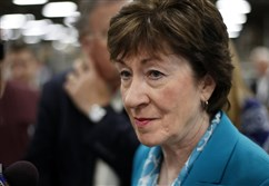 In this Aug. 17, 2017, file photo, Sen. Susan Collins, R-Maine, takes a question from a reporter while attending an event in Lewiston, Maine. The last-gasp Republican drive to tear down President Barack Obama's health care law essentially died Monday as Collins joined a small but decisive cluster of GOP senators in opposing the push.