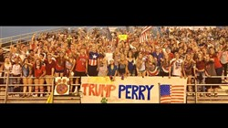 The banner that students from a Brooke County, W.Va., high school displayed during its football game against Pittsburgh Perry High School.