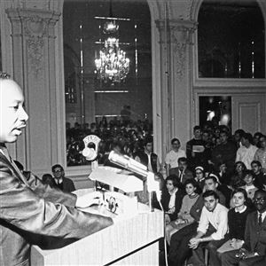 Martin Luther King speaks at Univ. of Pittsburgh circa 1966.