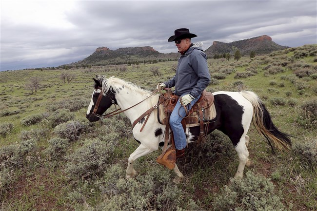 In this July 30, 2017, file photo, U.S. Interior Secretary Ryan Zinke speaks during a news conference near Gold Butte National Monument in Bunkerville, Nev.
