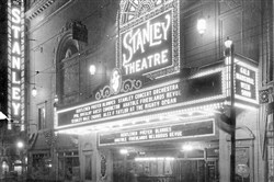 A historic shot of the Stanley Theatre marquee.