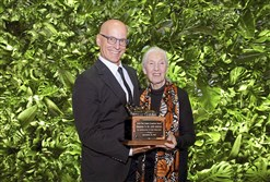 Jon Stryker and Jane Goodall pose with her award during the 20th anniversary Save the Chimps Gala held in New York City's Meatpacking District.