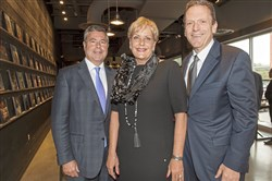 From left: Event chair Greg Jordan, hostess and CEO of Allegheny Health Network Cynthia Hundorfean and Highmark CEO David Holmberg.