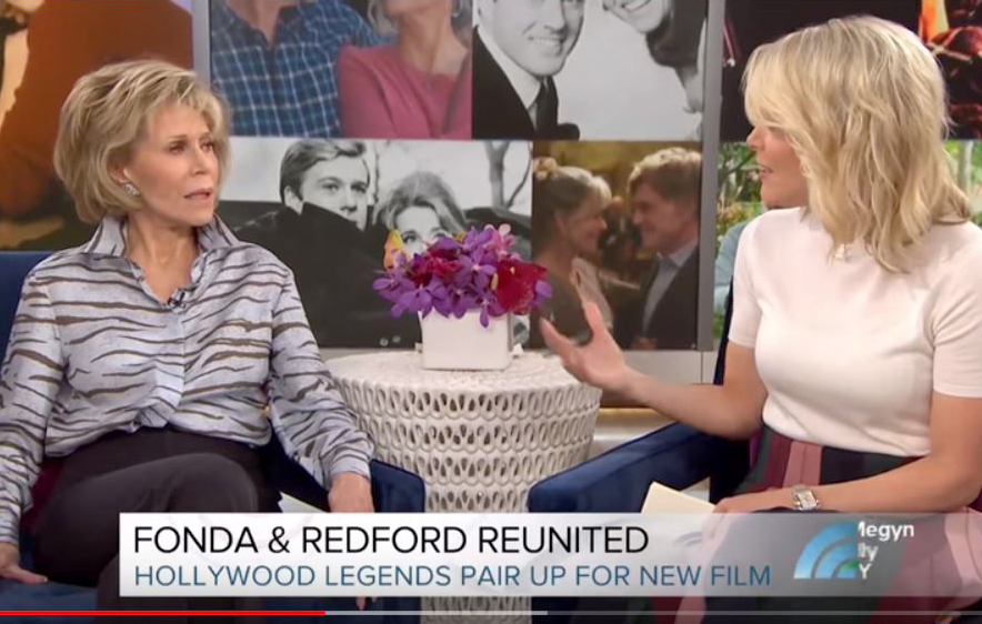 TV-KELLY Jane Fonda, left, reacts to being asked about plastic surgery by Megyn Kelly.