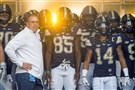 Pitt coach Pat Narduzzi stands with his team before the Rice game, one of two wins for the Panthers and their only one against a Football Bowl Subdivision opponent.